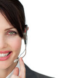 Close-up of an attractive customer service agent Royalty Free Stock Photography