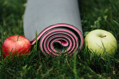 Close-up of attractive gray-pink rolled yoga or fitness mat with apples and thermos at park on a grass . Royalty Free Stock Photography