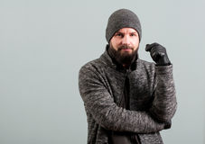 Close-up of attractive male with beard acting confident Stock Photos