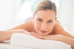 Close-Up Of Attractive Woman Relaxing At Spa Royalty Free Stock Images