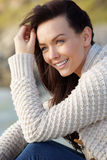 Close up attractive woman smiling outdoors Stock Photos