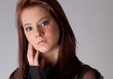 Close-Up of Attractive Young Woman's Face Stock Images