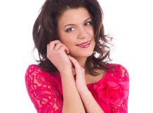 Close up attractive young woman wearing a pink dress Stock Images