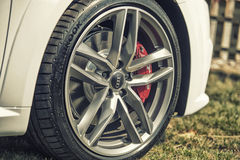 Close up on Audi car wheel Stock Photography