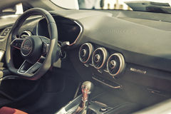 Close up on Audi cockpit and wheel Royalty Free Stock Images