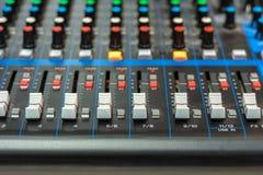 Close-up of an audio mixer stock image