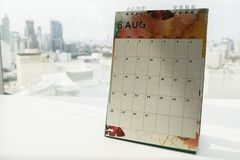 Close up August calendar for making appointment in offi Stock Images