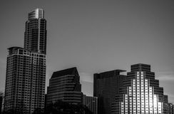 Close Up Austin Downtown Monochrome Skyline Cityscape Stock Photos