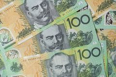 Close up of Australian one hundred dollar bills Royalty Free Stock Photos