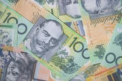 Close up of Australian one hundred dollar bills. Finance, currency and business concept Royalty Free Stock Photos