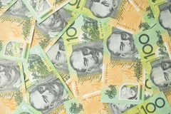 Close up of Australian one hundred dollar bills Royalty Free Stock Image