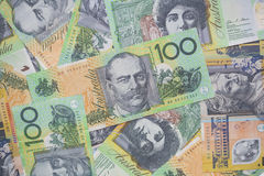 Close up of Australian one hundred dollar bills. Finance, currency and business concept Stock Photography
