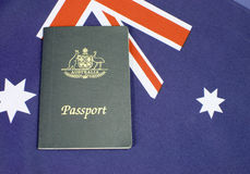 Close up of Australian Southern Cross flag with passport Stock Photography