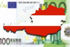 Close up on Austria map on Euro money background Royalty Free Stock Image