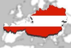 Close up on Austria map on Europe background Stock Photo