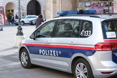 Austrian police car. No logos visible. Close up of austrian police car on Vienna street royalty free stock images