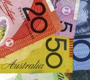 Close up Austrtalian bank notes. Austrtalian bank notes close up featuring the word Australia. Copyspace Royalty Free Stock Image