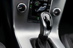 Close-up on automatic transmission lever. In modern car stock image