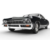 Close up automobilístico da opinião dianteira do preto clássico do músculo ilustração do vetor