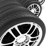 Close-up of automobile wheels. 3D render Illustration. On White Background Royalty Free Stock Photo