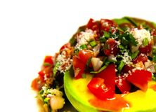Close up on Avocado Salsa salad - copy space. Rule of thirds stock photos