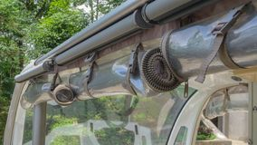 Awning of the golf car. Close up of Awning of the golf car royalty free stock image