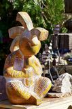 Large Native Stone Ornament in Nevada Cactus Nursery. Close up of Aztec Mayan looking stone garden ornament on display for sale at a little known cactus and rock stock photos