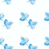 Close up azul da silhueta da flor da aquarela Imagens de Stock Royalty Free