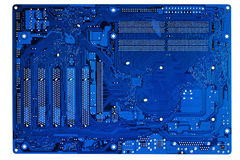 Close-up azul do circuito eletrônico. Fotografia de Stock