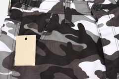 Close-up B&W camoflage pocket shorts with tag (fro Stock Image