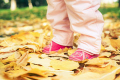Close-up baby dressed in shoes outdoor at autumn park Stock Photos