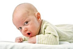 Close up on baby face. Close up on 3 month old baby face Royalty Free Stock Photo
