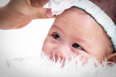 Close up  baby girl with white background Royalty Free Stock Images