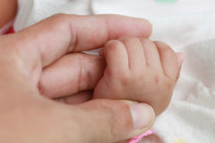 Close-up of baby hand holding father's finger on white background. Close up of baby hand holding father's finger Stock Photography
