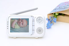 The close up baby monitor for security of the baby.  Royalty Free Stock Photography