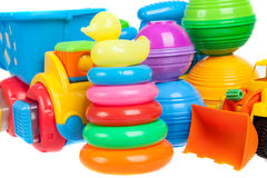 Close up of baby toys collection, isolated Royalty Free Stock Image