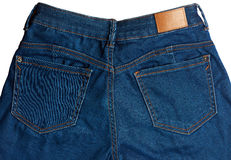 Close up of back pockets on jeans royalty free stock photo