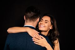 Close up back rear behind photo beautiful she her classy lady wife eyes closed he him his husband mrs mr married spouse royalty free stock photos