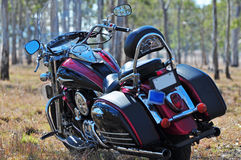 Hot road motorcyle in outback bushland Australia. A close up back view of a luxurious and powerful road motorbike touring Australian outback and is parked in the stock images
