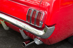 Close-up of the back of a vintage red sports car Royalty Free Stock Images