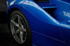 Ferrari 488 spider blue close up Stock Images