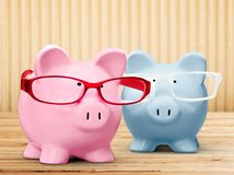 Two piggy banks on light background. Close up background money object nobody wealth business Royalty Free Stock Photos
