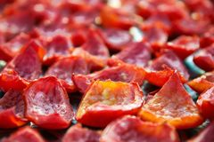 Close-up background of red tomatoes drying outdoors in the sun Royalty Free Stock Photos