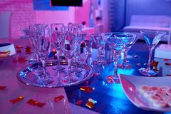 Cocktail Glasses on Party Table royalty free stock photo