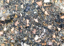 Close up background texture outside of cobbled stone wall floor Royalty Free Stock Photos