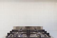 Close up background tiles splashback and stove top Stock Images