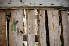 Close up background of vertical fence of light wooden planks that nailed with fasteners and have cracks between each other.  royalty free stock photos