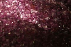 Close up background of purple amethyst crystals stock photos
