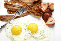 Close Up of Bacon and Eggs Royalty Free Stock Photo