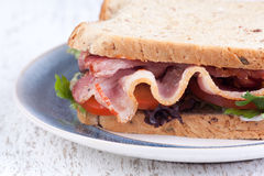 Close up bacon sandwich Royalty Free Stock Photography